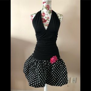 1980's inspired cocktail polka dot  bubble dress